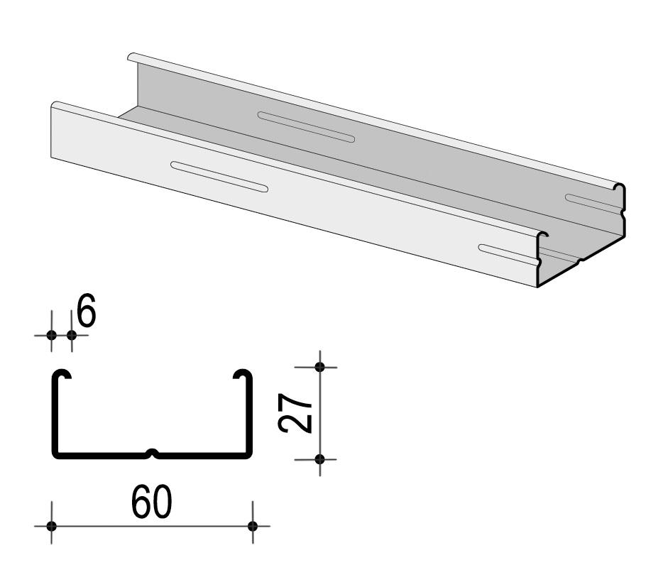 Profil za suhu gradnju CD, 60x27x0,6x3100 mm, KNAUF