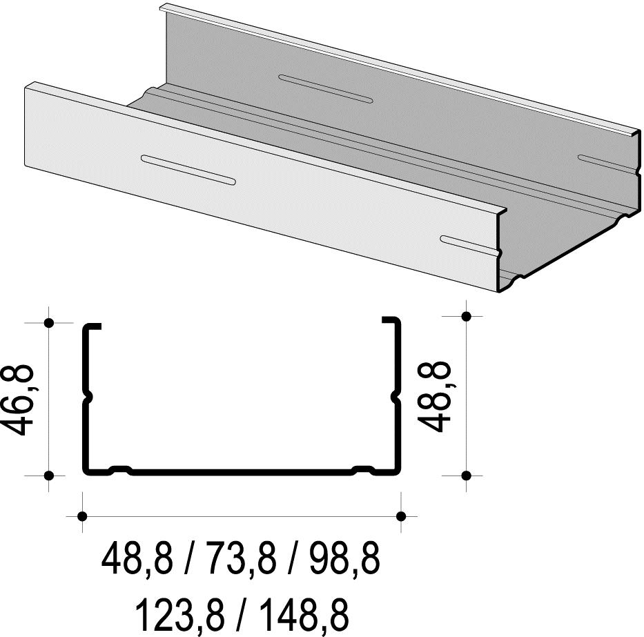 Profil za suhu gradnju CW 75x50x0,6x3000 mm, KNAUF