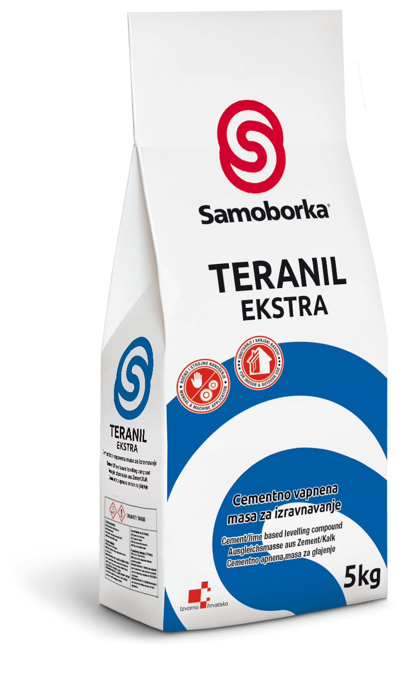 Cementno vapnena masa za gletanje zidova i stropova, TERANIL EXTRA, 5kg, SAMOBORKA