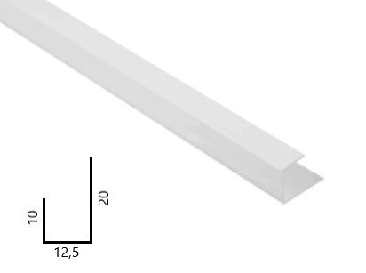 Završni PVC profil za gips kartonske ploče, 12,5 mm X 2,5 m