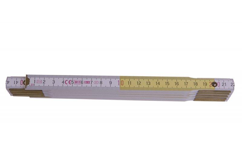 Metar drveni, bijelo- žuti, 2 m