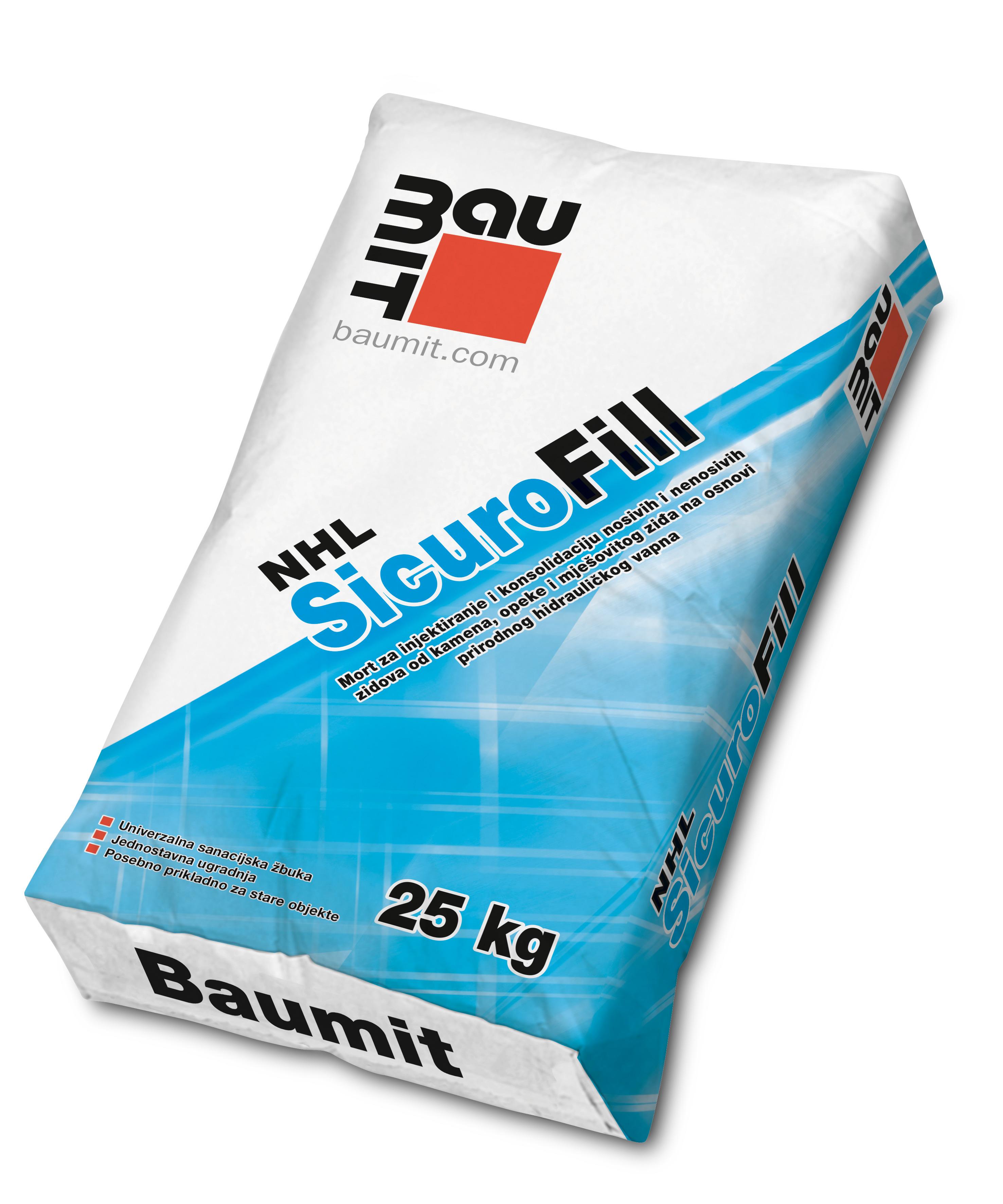 Mort za injektiranje i konsolidaciju zidova od kamena, SICURO NHL FILL, 25 kg, BAUMIT