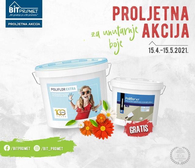 Boja za unutarnje zidove, POLIFLOR EXTRA 15l + GRATIS KIT 3kg, CHROMOS