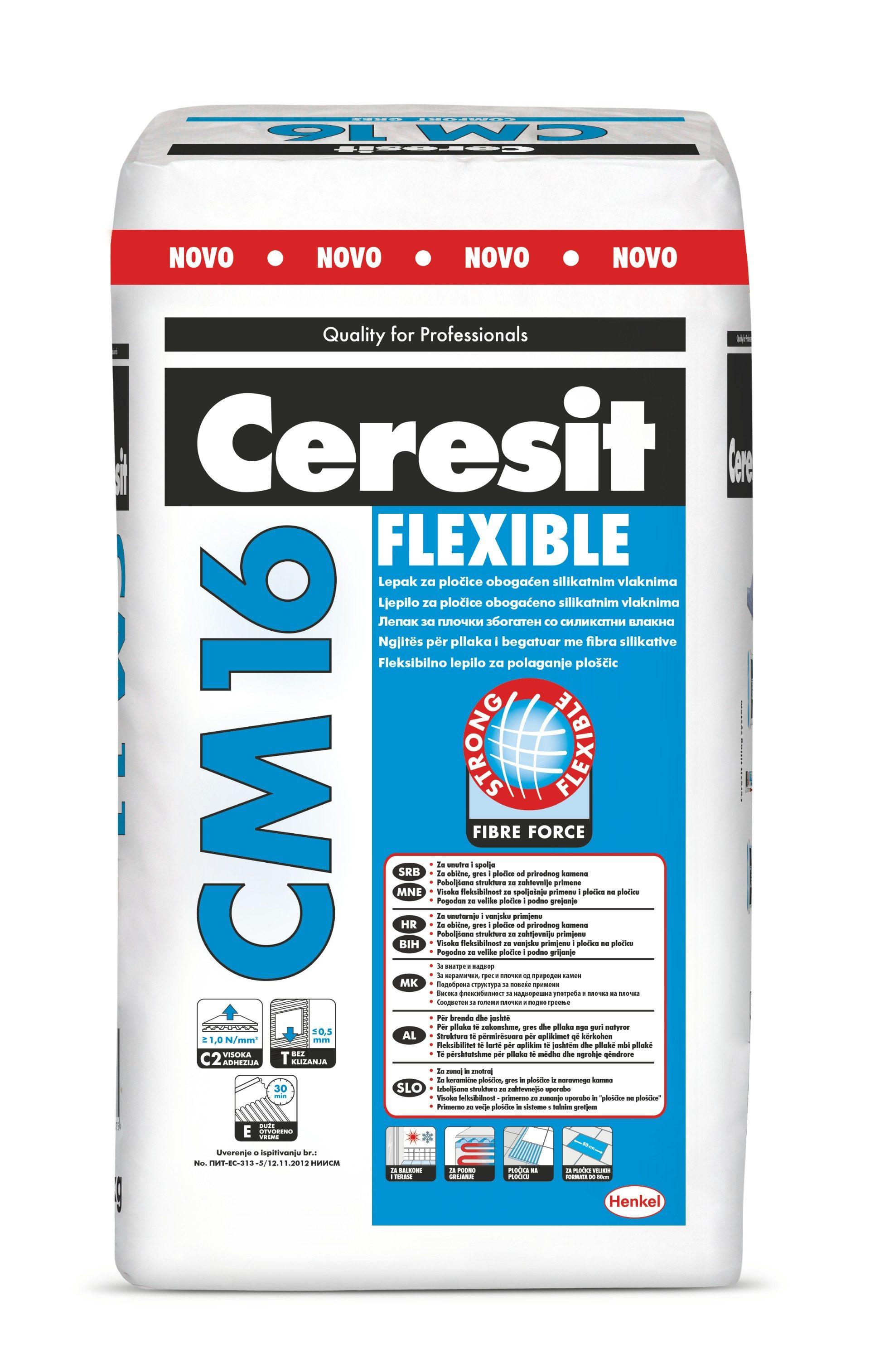 Fleksibilno ljepilo za keramiku, CM 16, 25 kg, CERESIT